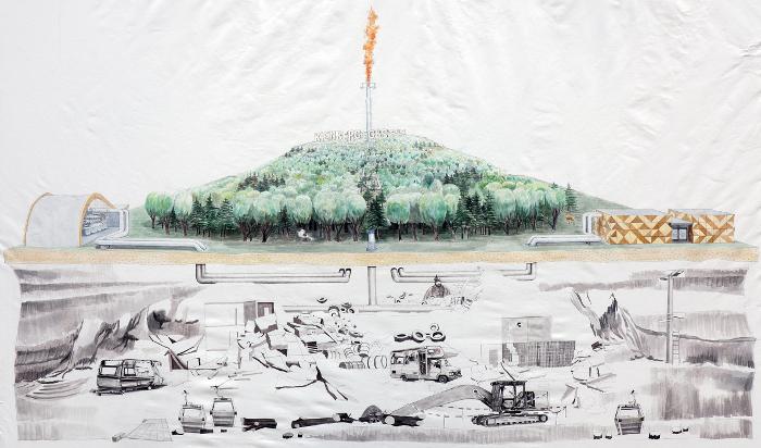 »Kienberg Gas (Zukunftsvision)«, Aquarell (im Arbeit) von Eva Hertzsch & Adam Page, Mai 2020.